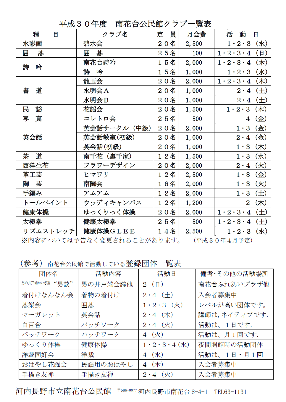 平成30年度南花台公民館クラブ一覧表(参考:登録団体